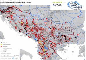 The updated map of the HPP-s in the Balkan Rivers © Fluvius