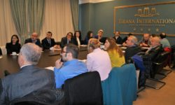 During the roundtable with representatives of construction businesses, Association of constructors, representatives of central and local government, and experts. © V. Kabilli/EcoAlbania